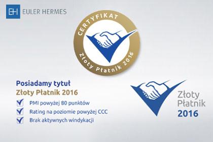 Otrzymaliśmy Certyfikat Złoty Płatnik 2016